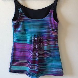Multicolored athletic tank with ruched detail